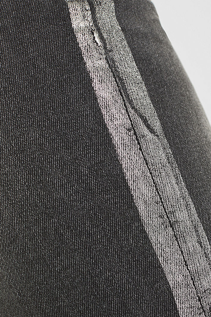 Stretch jeans with shiny stripes, BLACK MEDIUM WASHED, detail image number 4