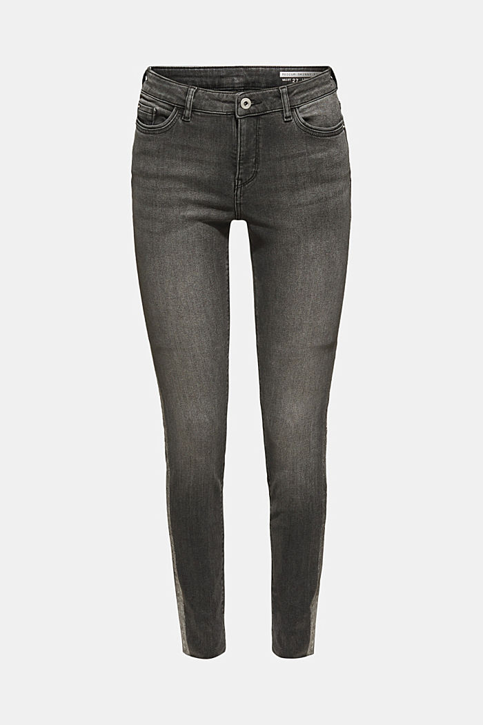 Stretch jeans with shiny stripes, BLACK MEDIUM WASHED, detail image number 7