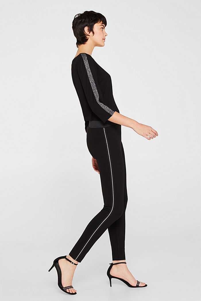 Punto leggings with beaded chain appliqués, BLACK, detail image number 5
