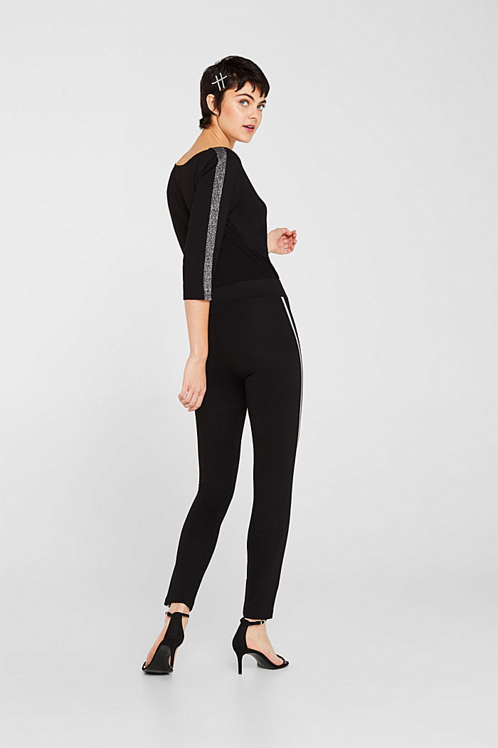 Leggings with glittering woven tape, BLACK, detail image number 3
