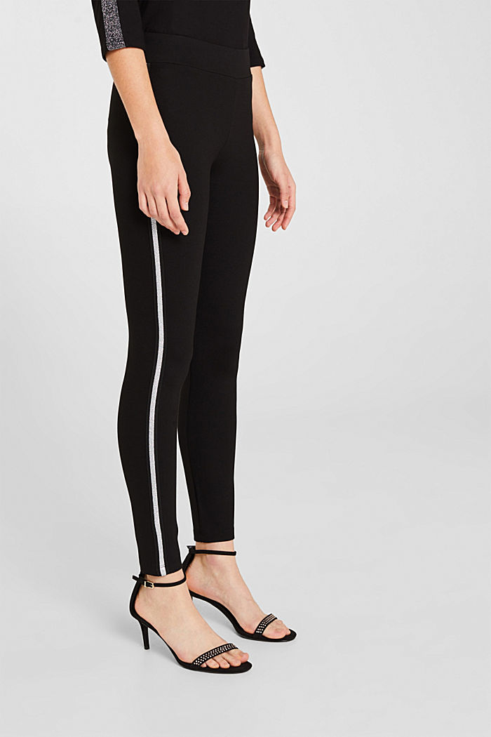 Leggings with glittering woven tape, BLACK, detail image number 5