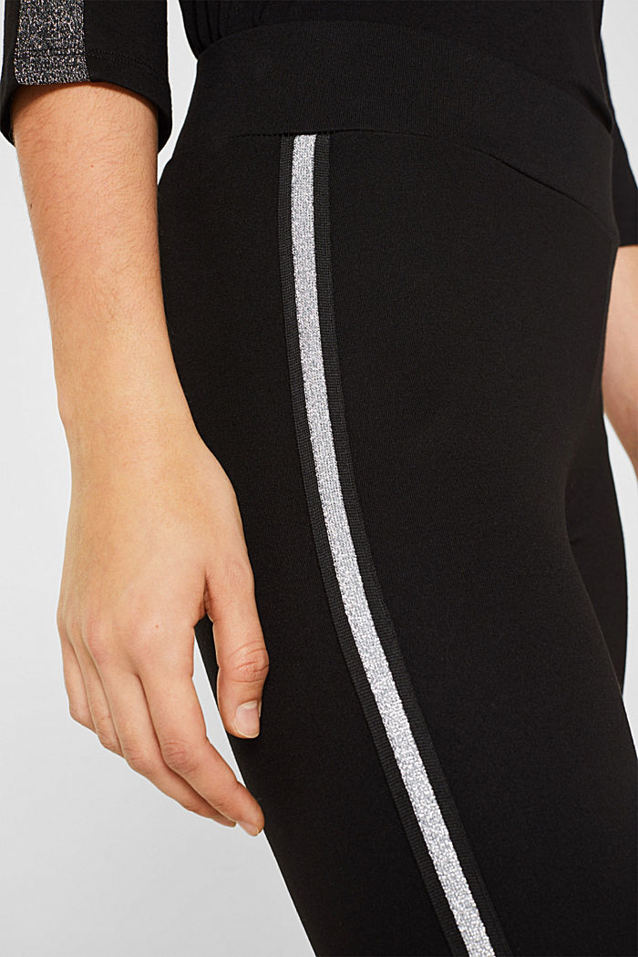 Leggings with glittering woven tape, BLACK, detail image number 2