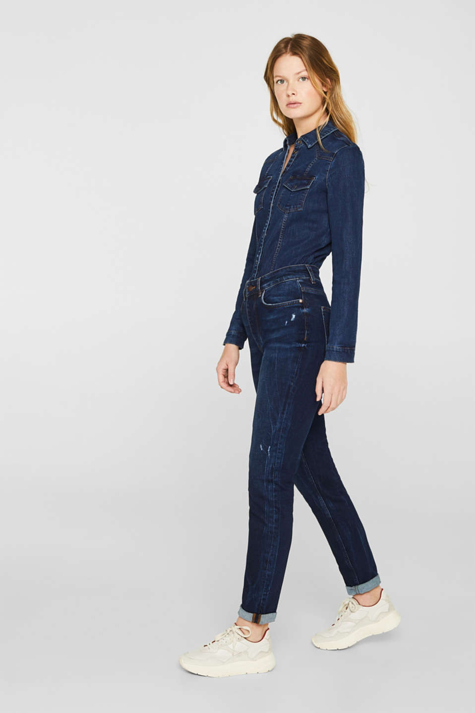 Distressed stretch jeans with a high-rise waist, BLUE DARK WASH, detail image number 0