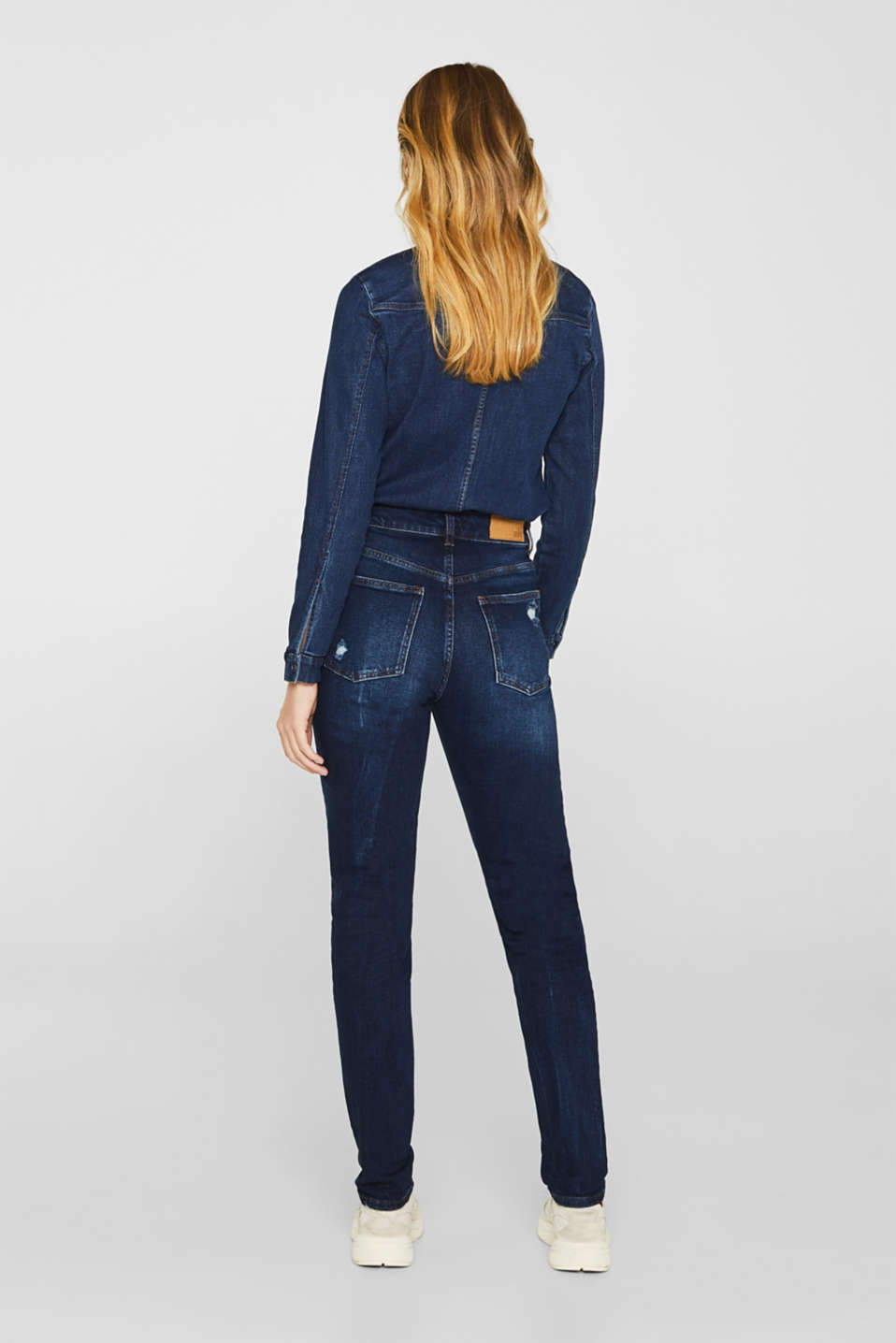 Distressed stretch jeans with a high-rise waist, BLUE DARK WASH, detail image number 3