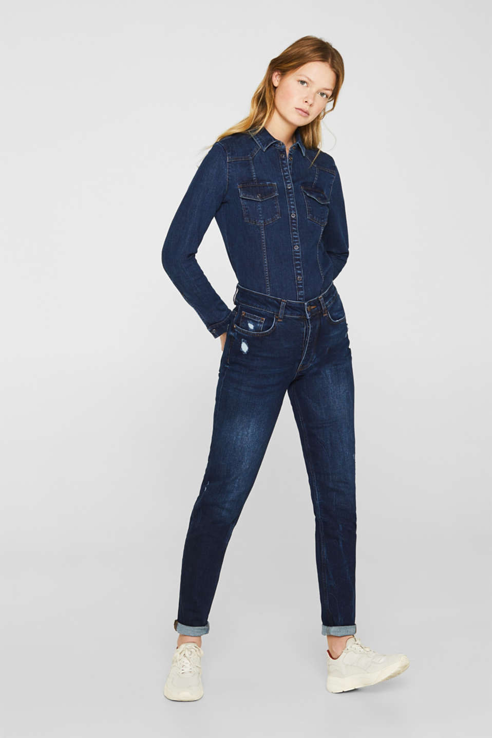 Distressed stretch jeans with a high-rise waist, BLUE DARK WASH, detail image number 1