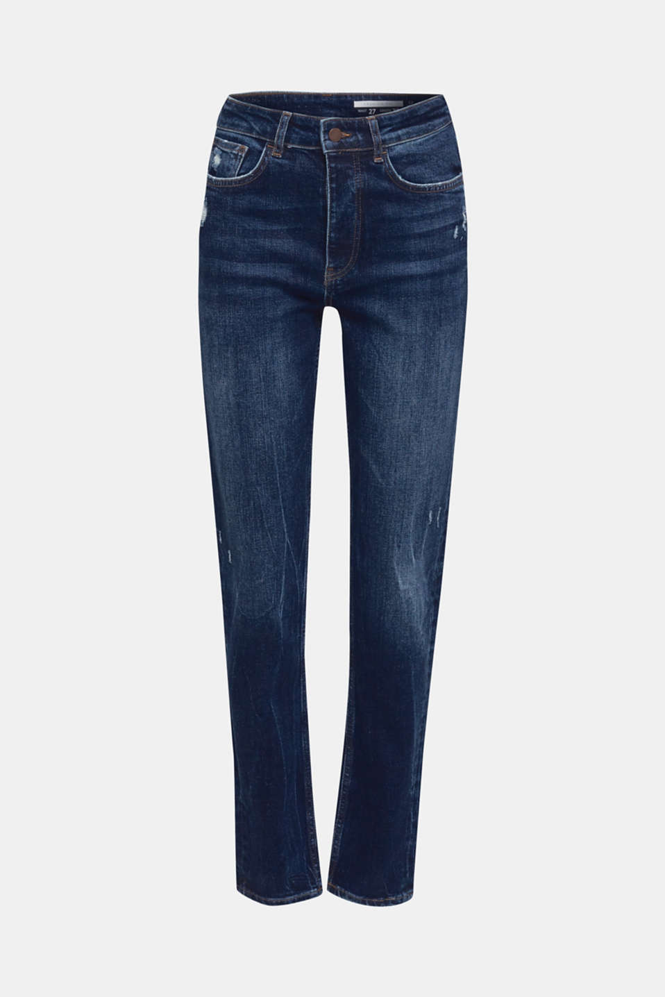 Distressed stretch jeans with a high-rise waist, BLUE DARK WASH, detail image number 6