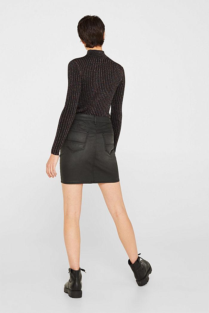 Coated stretch denim skirt, BLACK MEDIUM WASHED, detail image number 3