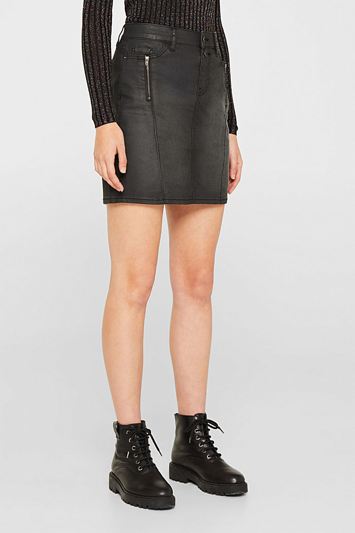 Coated stretch denim skirt, BLACK MEDIUM WASHED, detail image number 6
