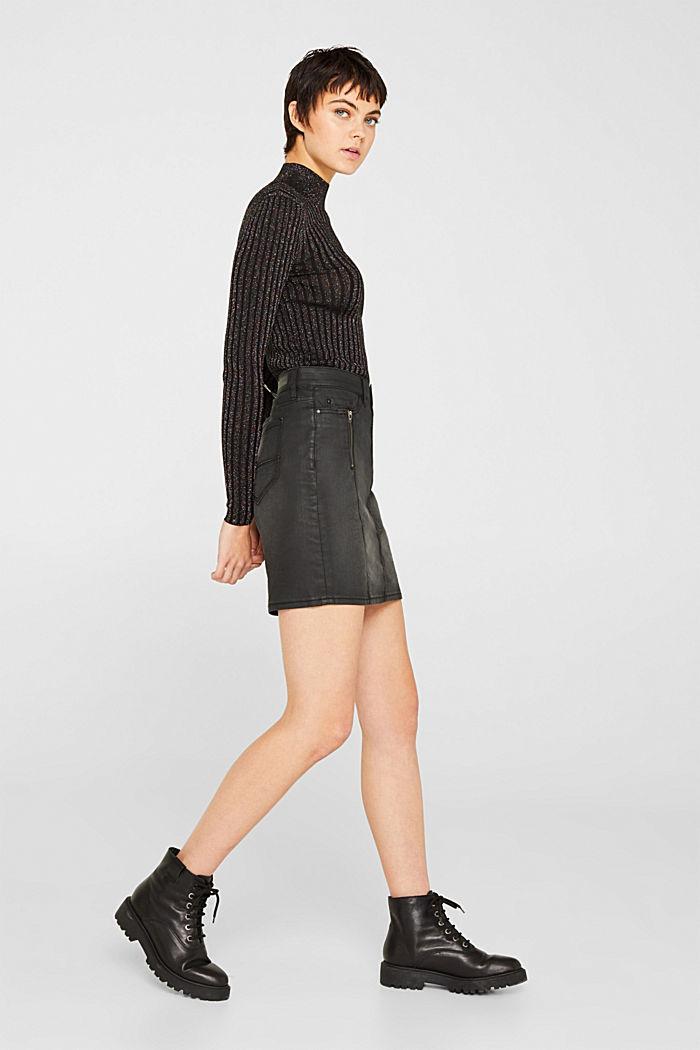 Coated stretch denim skirt, BLACK MEDIUM WASHED, detail image number 1