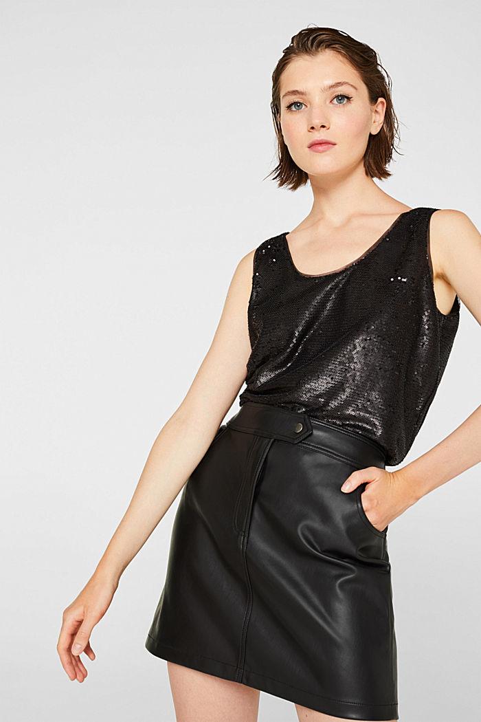 Faux leather mini skirt, BLACK, detail image number 0