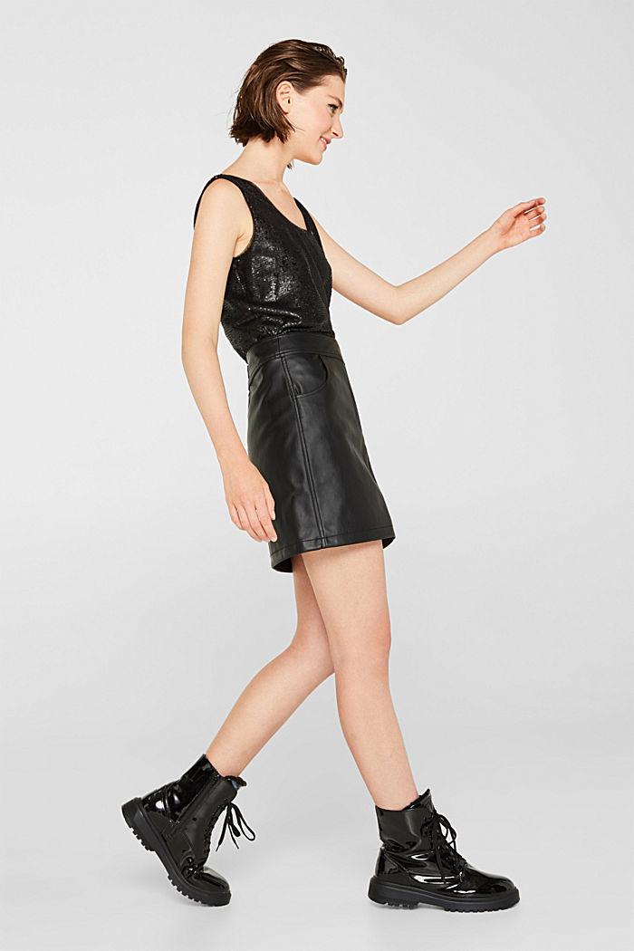 Faux leather mini skirt, BLACK, detail image number 5