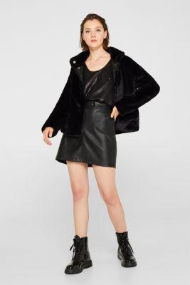 Faux leather mini skirt, BLACK, detail