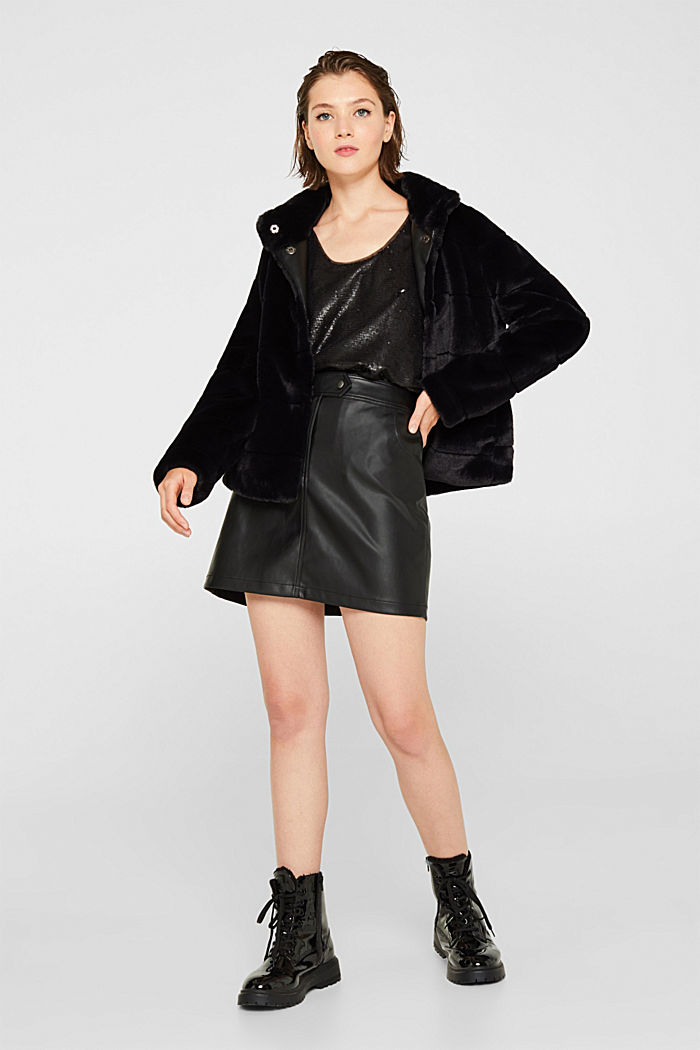 Faux leather mini skirt, BLACK, detail image number 1