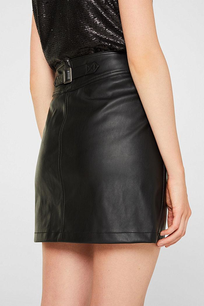 Faux leather mini skirt, BLACK, detail image number 6