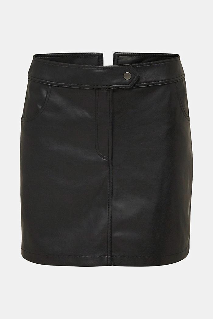 Faux leather mini skirt, BLACK, detail image number 8