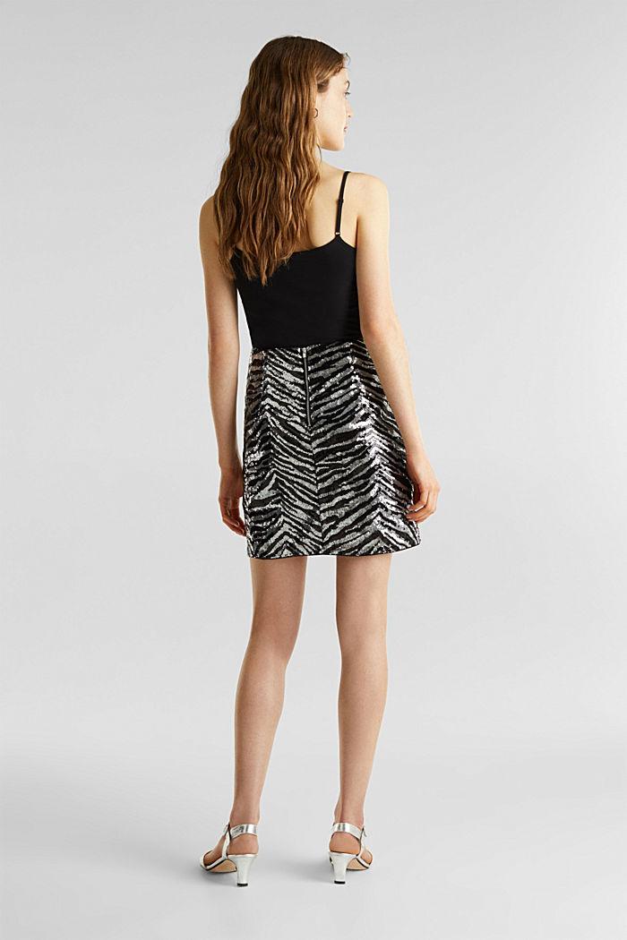 Sequin skirt in a zebra look, BLACK, detail image number 3