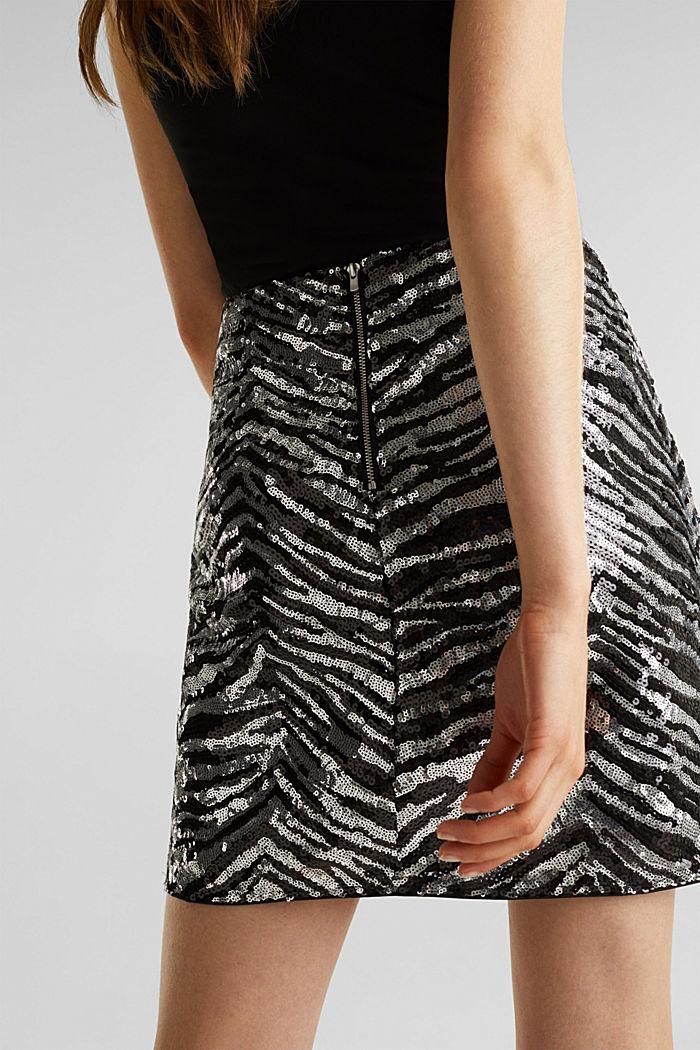 Sequin skirt in a zebra look, BLACK, detail image number 2