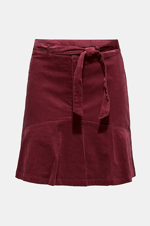 Fine needlecord mini skirt, stretch cotton