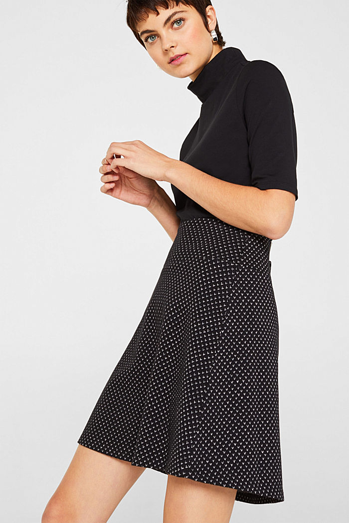 Jersey skirt with a glittering pattern, BLACK, detail image number 0
