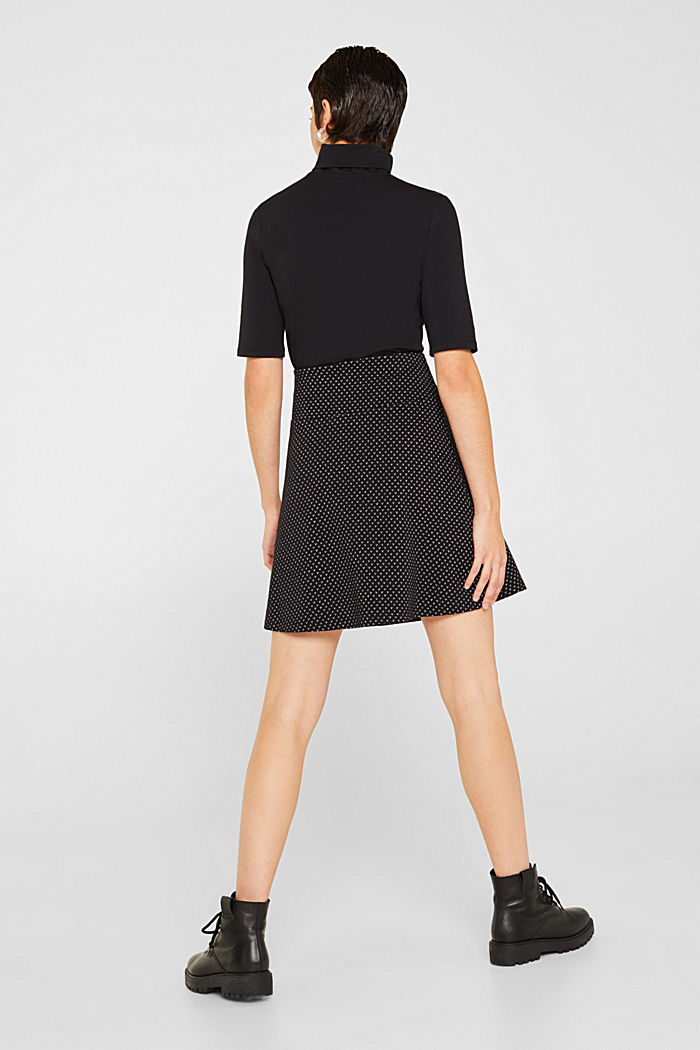 Jersey skirt with a glittering pattern, BLACK, detail image number 3