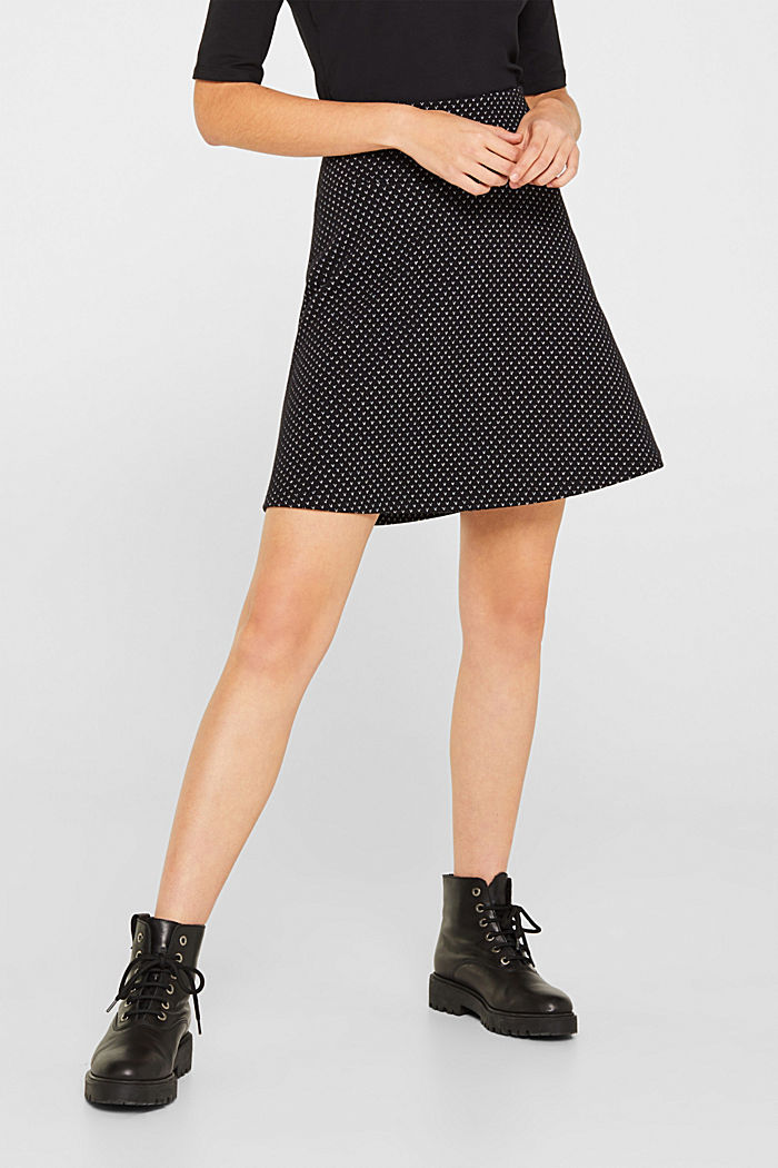 Jersey skirt with a glittering pattern, BLACK, detail image number 6