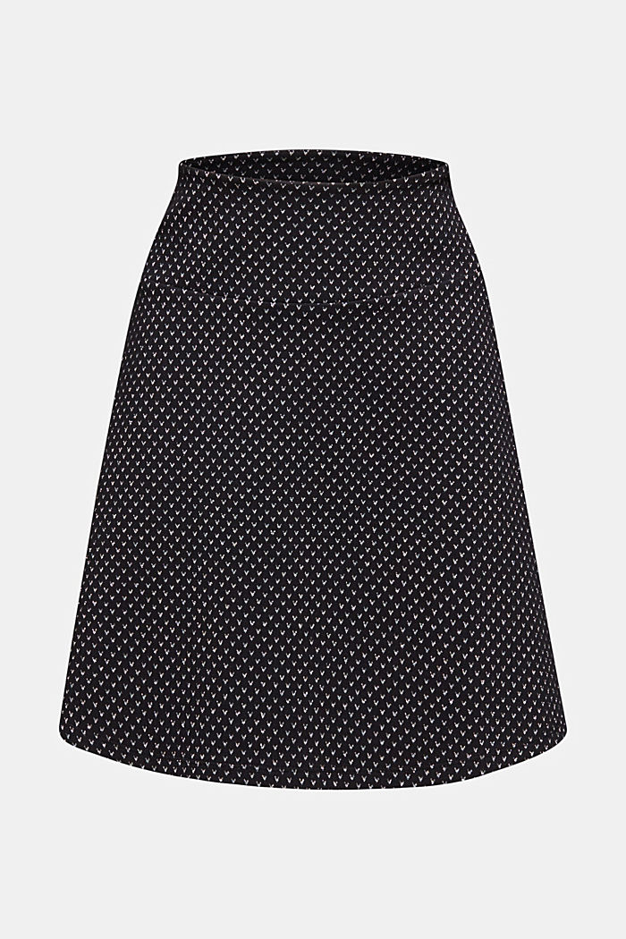 Jersey skirt with a glittering pattern, BLACK, detail image number 7