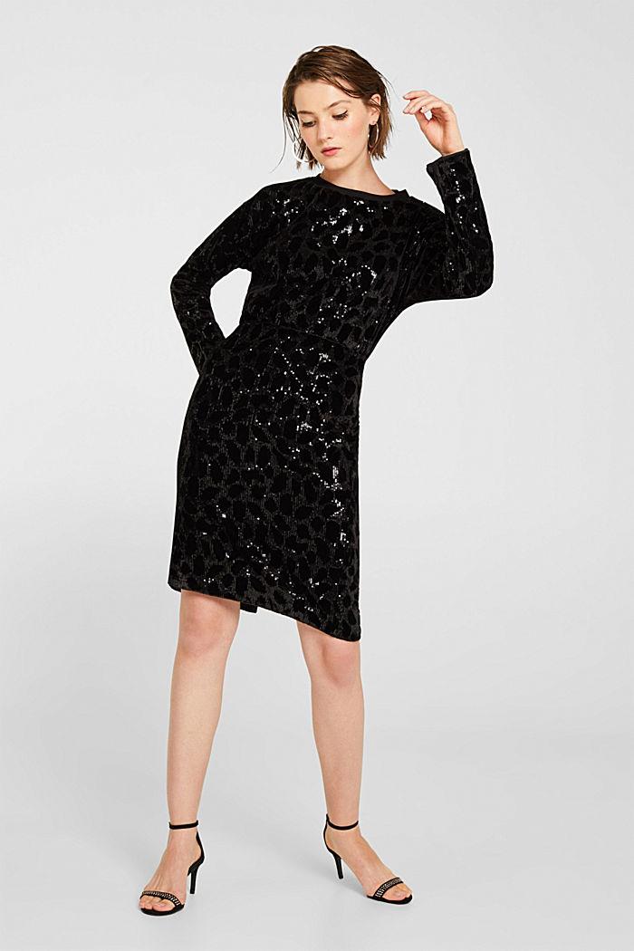 Velvet skirt with leopard-look sequins, BLACK, detail image number 0