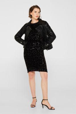 Velvet skirt with leopard-look sequins, BLACK, detail