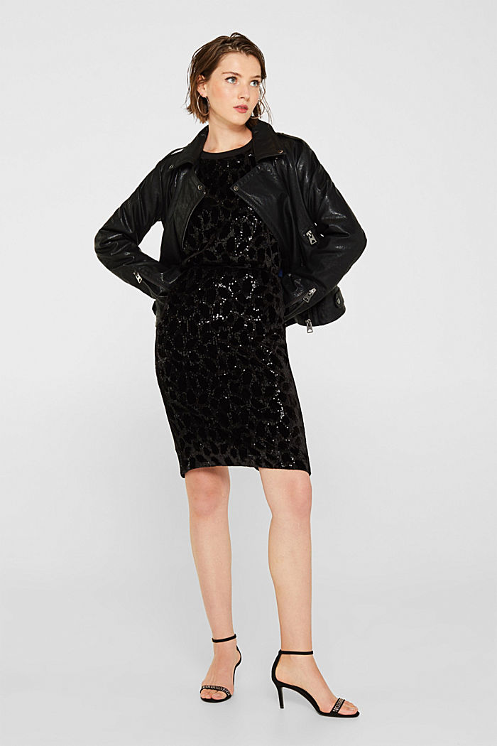 Velvet skirt with leopard-look sequins, BLACK, detail image number 1