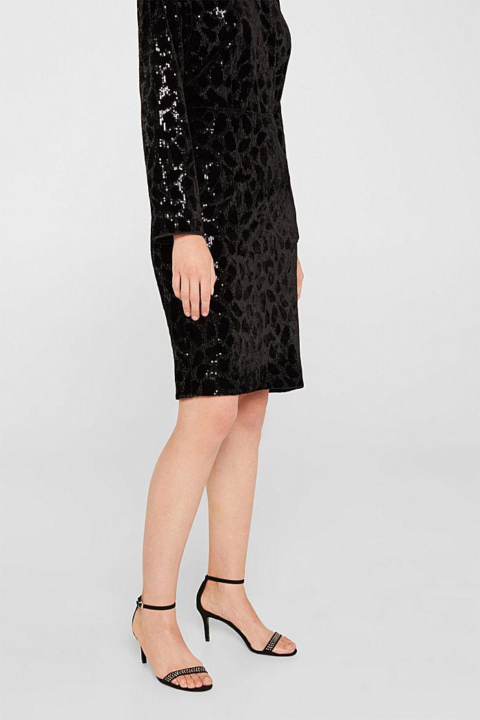 Velvet skirt with leopard-look sequins, BLACK, detail image number 2