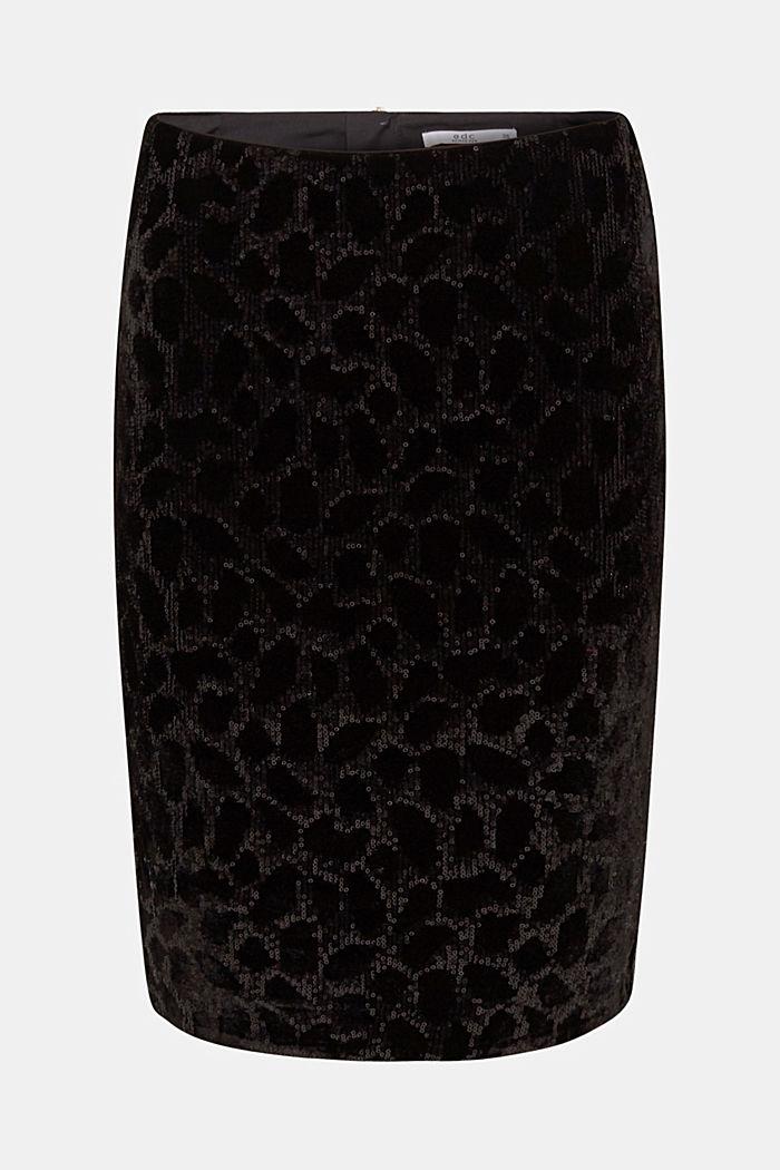 Velvet skirt with leopard-look sequins, BLACK, detail image number 5