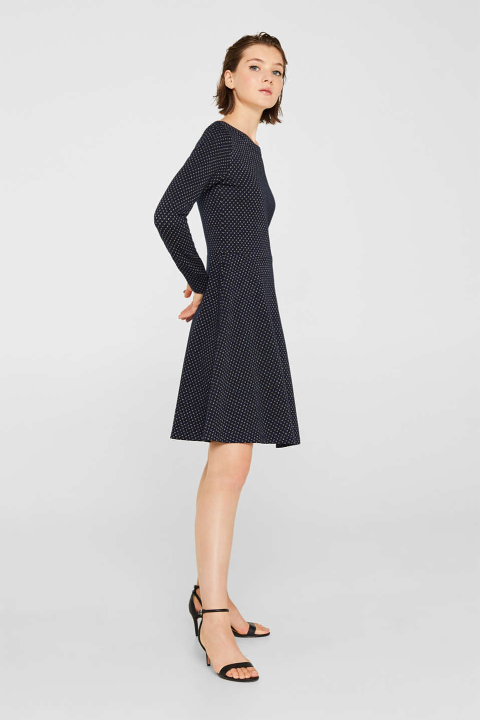 Glittering stretch jersey dress, NAVY, detail image number 1