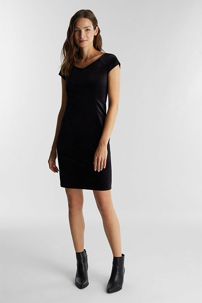Samtkleid mit Stretchkomfort, BLACK, overview