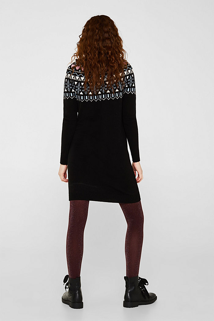 Knitted jacquard dress with stretch, BLACK, detail image number 1