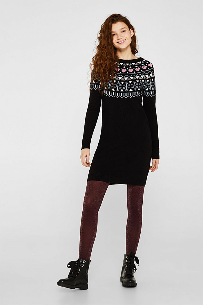 Knitted jacquard dress with stretch, BLACK, detail image number 0
