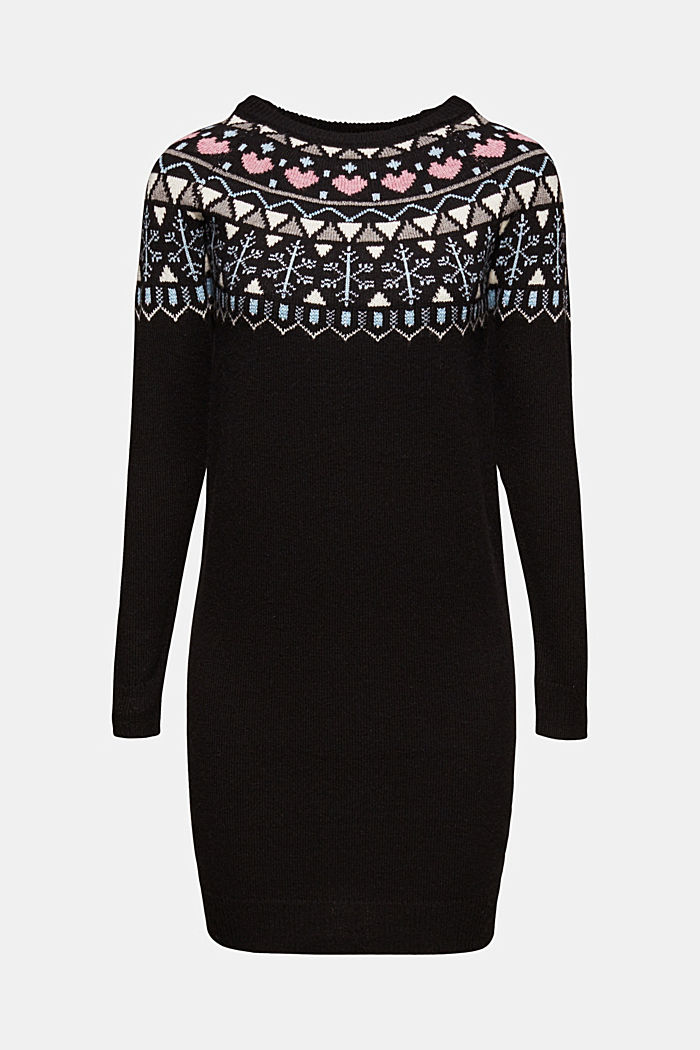 Knitted jacquard dress with stretch
