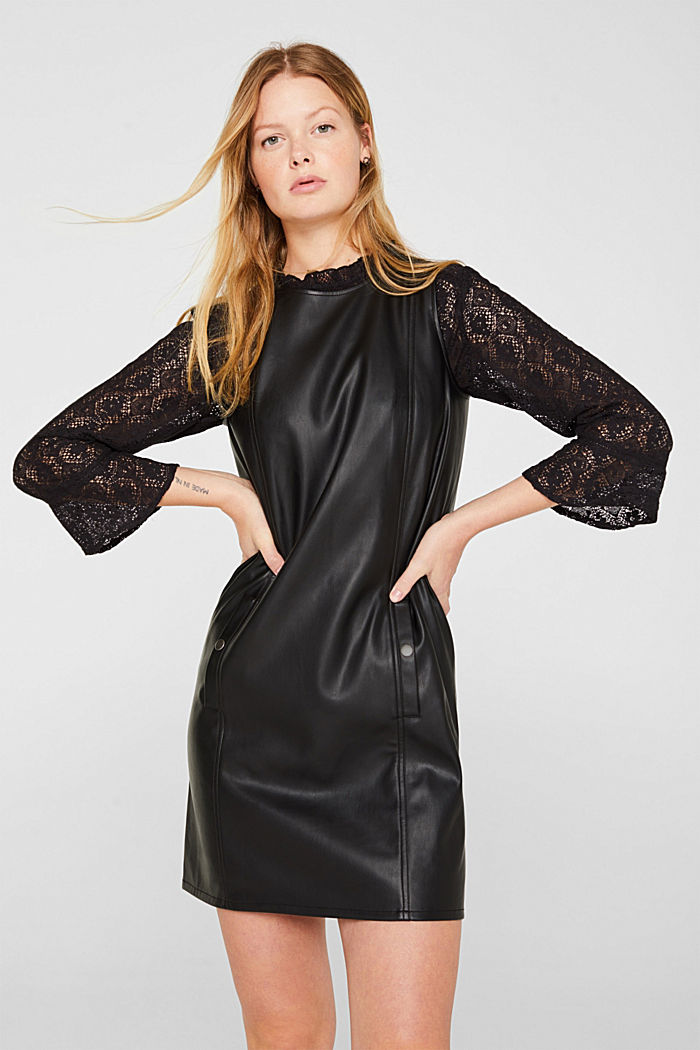 Faux leather dress, BLACK, detail image number 0