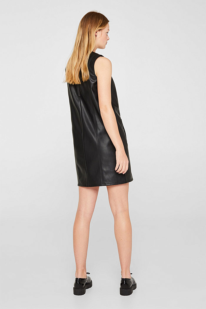 Faux leather dress, BLACK, detail image number 3