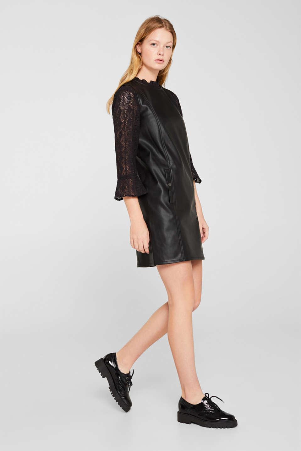 Faux leather dress, BLACK, detail image number 1