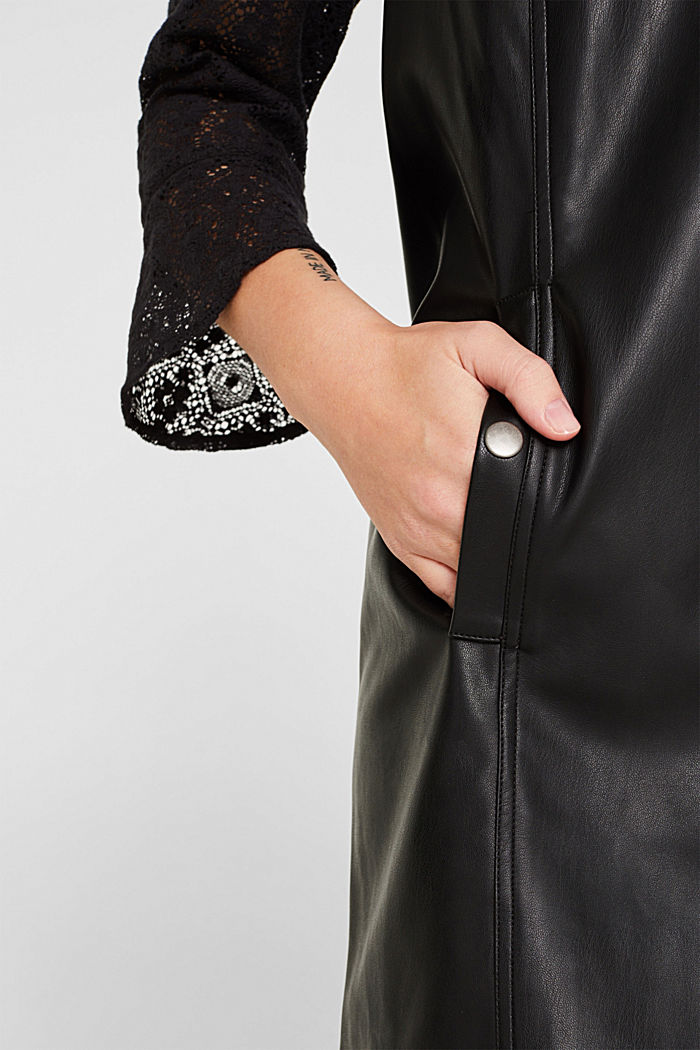 Faux leather dress, BLACK, detail image number 2