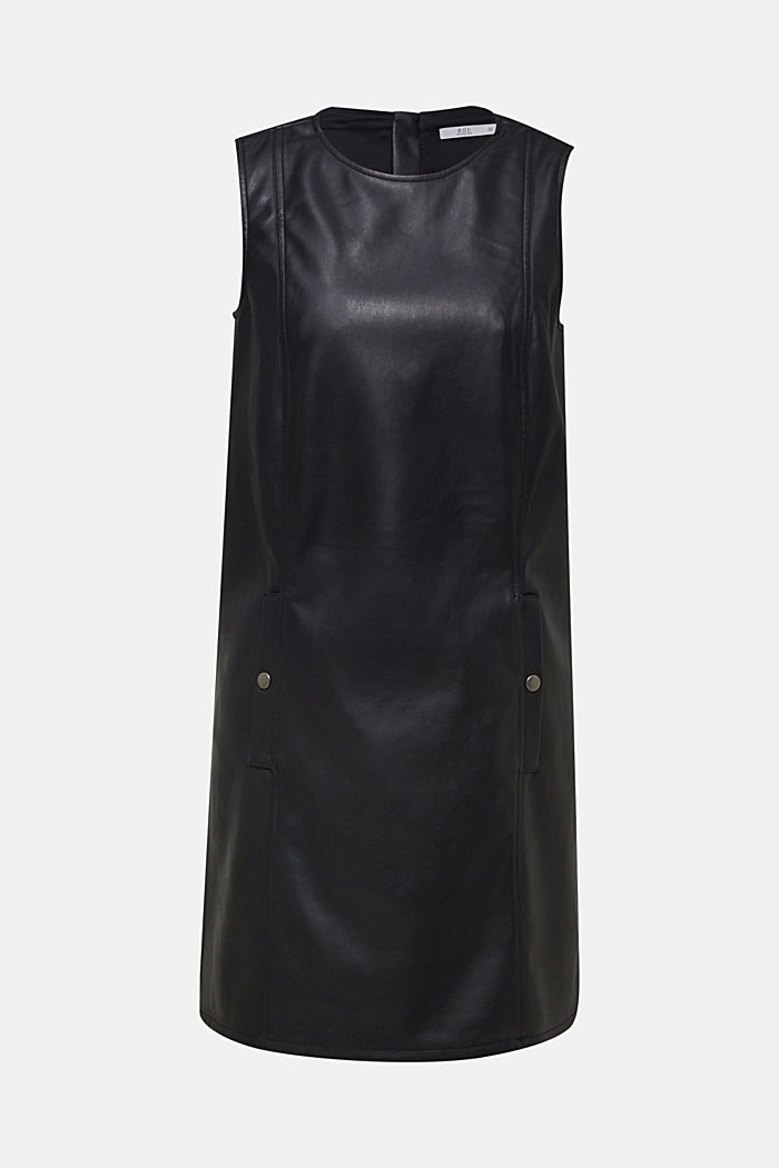 Faux leather dress, BLACK, detail image number 5