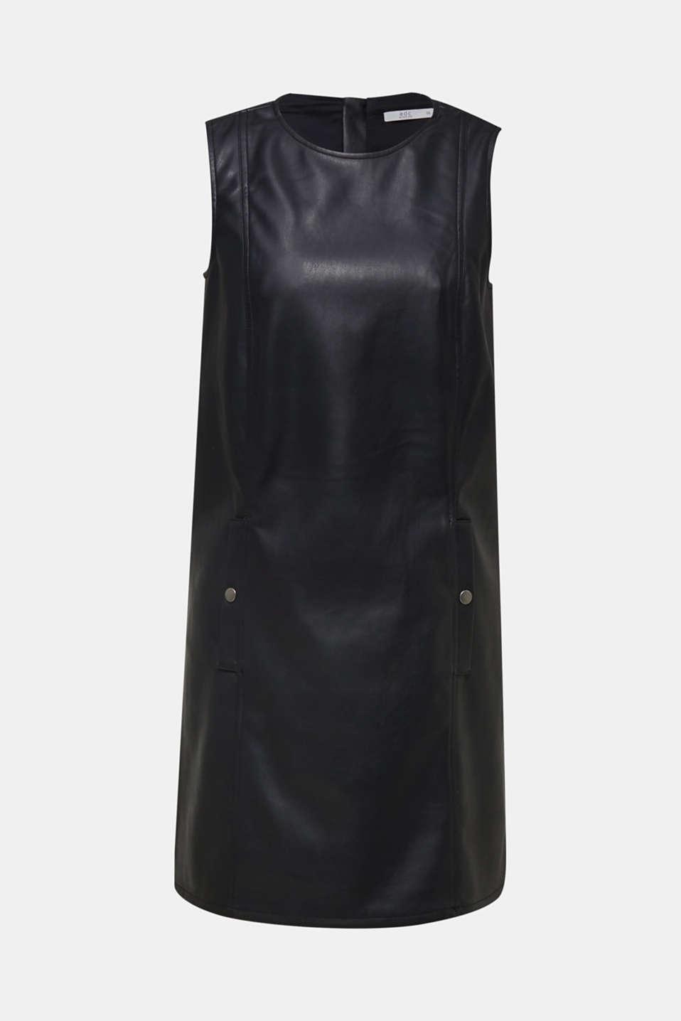 Faux leather dress, BLACK, detail image number 5