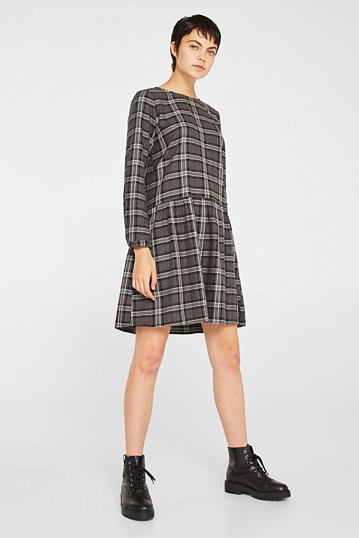 Flared check dress made of 100% cotton, GUNMETAL, detail image number 0