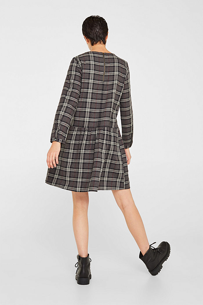 Flared check dress made of 100% cotton, GUNMETAL, detail image number 2