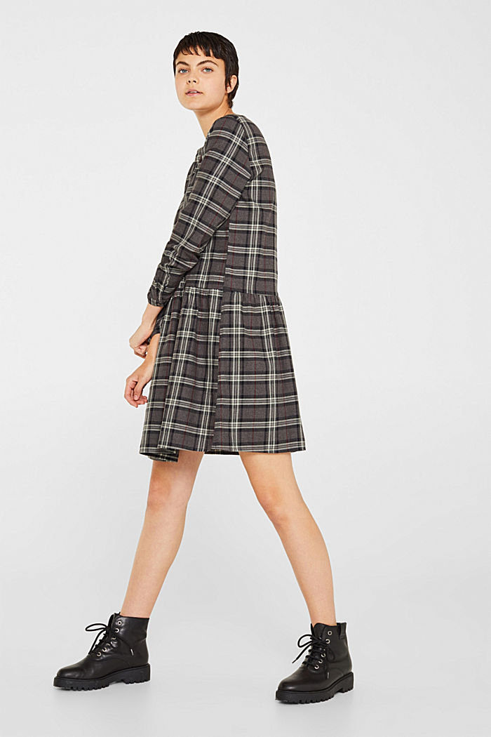 Flared check dress made of 100% cotton, GUNMETAL, detail image number 1