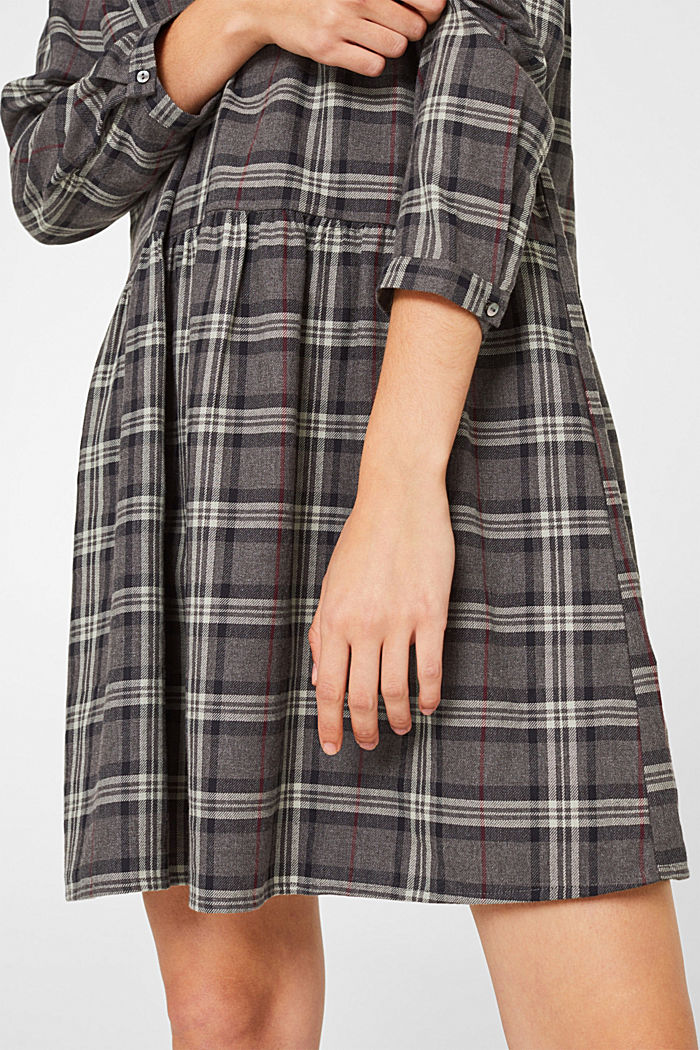 Flared check dress made of 100% cotton, GUNMETAL, detail image number 3