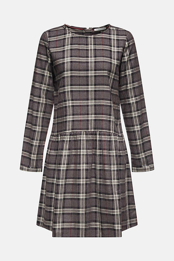 Flared check dress made of 100% cotton, GUNMETAL, detail image number 6