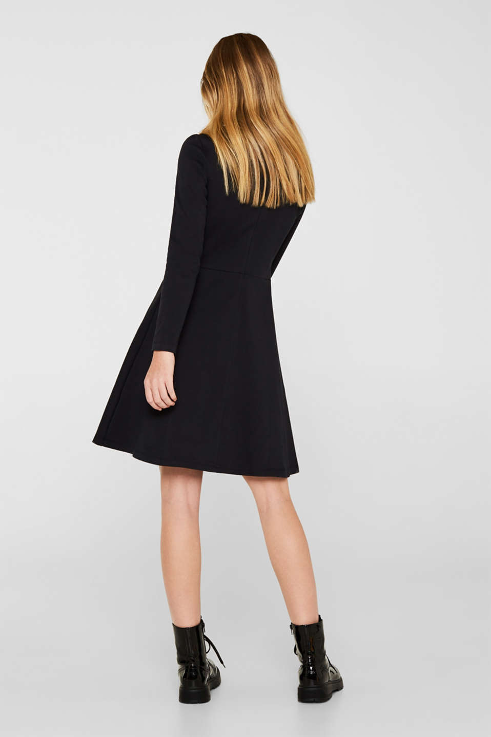 Textured stretch jersey dress, BLACK, detail image number 2