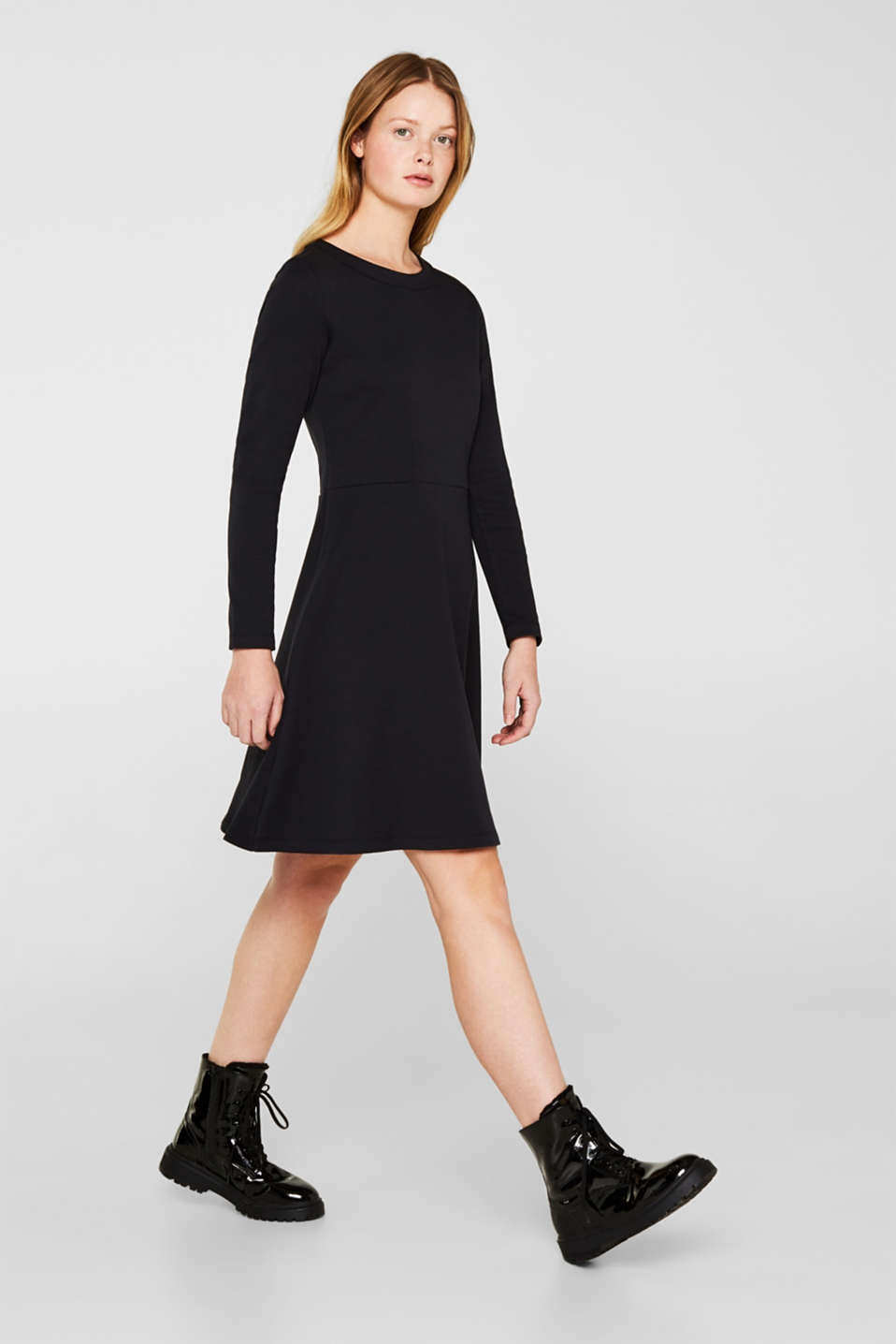 Textured stretch jersey dress, BLACK, detail image number 5