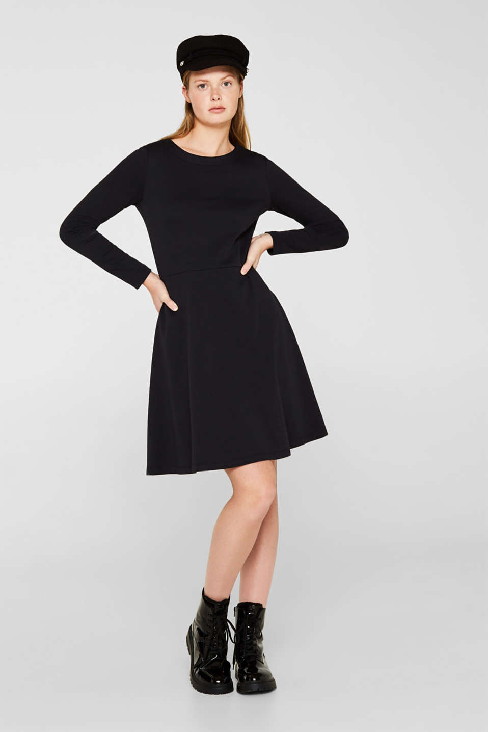 Textured stretch jersey dress, BLACK, detail image number 1